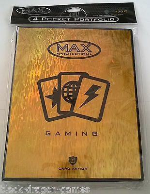 Max Protection Gold 4 Pocket Portfolio Gaming Trading Card Folder A5 Size NEW