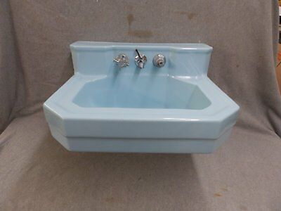 Vtg Light Blue Porcelain Ceramic Bathroom Self Top Sink Old Plumbing 2002-16