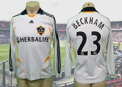 "La Galaxy 2007-08 LS home shirt Beckham 32 size Boys L (pit to pit 18.5"") Adidas"