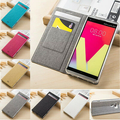Luxury Flip Leather Card Slot Stand Smart Window Wallet Case Cover For LG V20