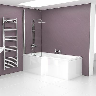 Modern 1700mm Left Handed L Shaped Shower Bath Tub with Fittings with Side Panel