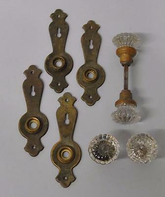 Two Pair Antique Stamped Brass Door Plates Cut Glass Knobs Hardware