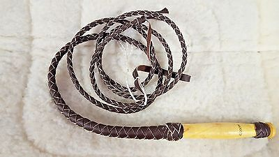 New Authentic Real Braided Leather 8ft Bull Whip W/Swivel Handle -Made in Mexico