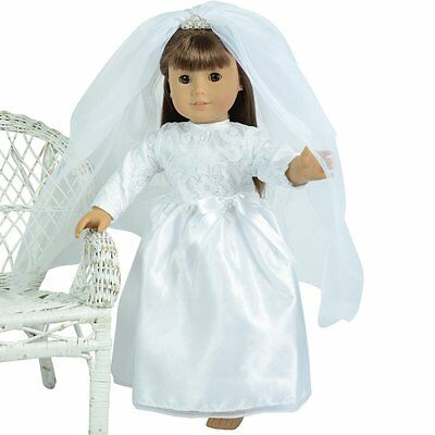 """Wedding Gown and Veil with Tiara for 18"""" inch Dolls ( Attractive Design View)"""