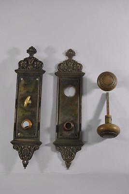 Heavy Antique Cast Brass Victorian Door Backplate and Knob Yale & Towne
