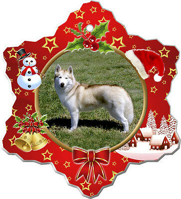 Siberian Husky Christmas Holiday Ornament
