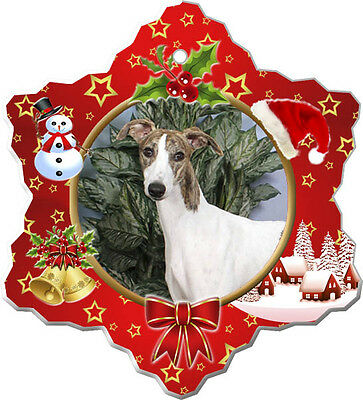 Whippet Christmas Holiday Ornament