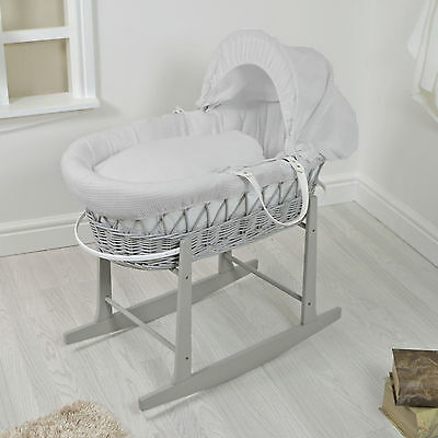 New 4Baby Grey Wicker / Grey Waffle Padded Baby Moses Basket & Rocking Stand