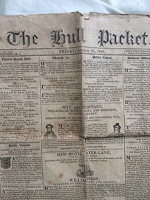The hull packet antique vintage newspaper August 25 1837 Yorkshire Paper