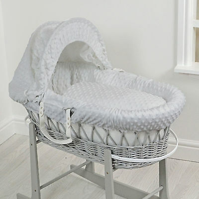 New 4Baby Grey Wicker / Grey Dimple Deluxe Padded Unisex Baby Moses Basket