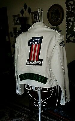 Women's White Leather Biker Jacket With Patches