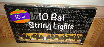 Halloween BATS ON MOON Blinking String Light Set (10) New in Box