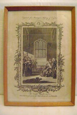 Antique Framed Engraving Mary Queen of Scots Bookplate C.1771 Montague's History