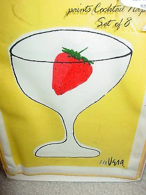 Vintage New In Box Vera Paints Cocktail Napkins Set Of 8 Strawberry In Glass