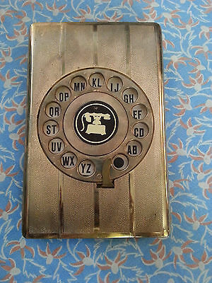 Vintage Pop Up Golden Rotary Dial Contact Address Finder Book Organizer Case Old