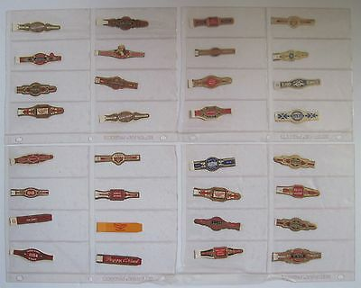 Lot of 32 OLD Cigar Bands in Binder Display Sleeves FREE Shipping