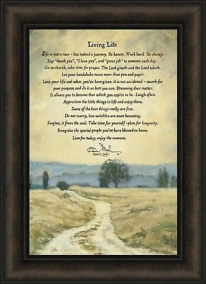 LIVING LIFE By Bonnie Mohr 16x22 Trees Inspirational Quote FRAMED PRINT  PICTURE