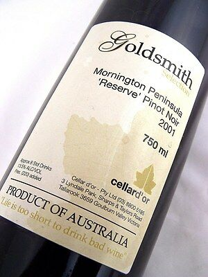 2001 CELLAR D'OR GOLDSMITH Selection Reserve Pinot Noir Isle of Wine
