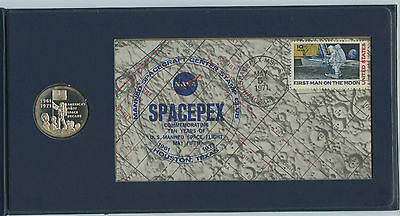1971 Decade of First Flight FDC and Sterling Silver coin, Apollo, SPACEPEX