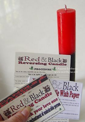 REVERSING CANDLE RED & BLACK CANDLE Wicca Witch Pagan Goth Spell