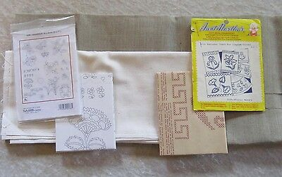Two Piece of Natural Linen and Embroidery Transfers