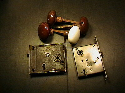 Antique Norwalk Cast Iron Rim Lock 4 Porcelain Door Knobs+Russel Irwin Patented