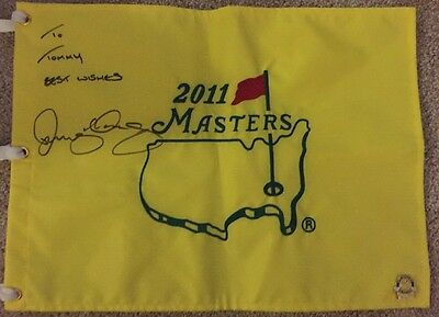 Rory McIlroy Signed 2011 MASTERS FLAG Augusta Official Flag Autograph To Tommy..