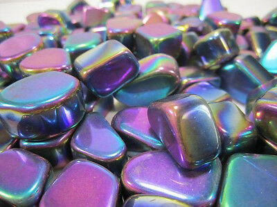 2 x MAGNETIC RAINBOW HEMATITE TUMBLED STONES Wicca Reiki Witch Spell Pagan  Goth