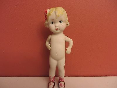 """Vntg Porcelain 6"""" Doll Made in Japan Jointed Arms"""