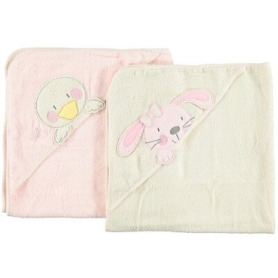 B is for Bear Hooded Soft Bath Towel 2 Pack, Newborn Baby Cotton Robe