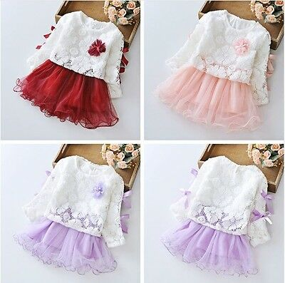 2pcs Baby Girls Kids Lace Tops Long Sleeve Dress Wedding Party Birthday