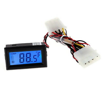 Digital Thermometer Lcd Meter Gauge Detector Pc Car Mod C/F Molex Panel Mount BS