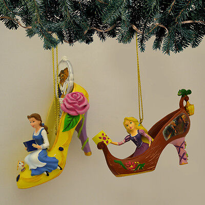 DISNEY BELLE and RAPUNZEL Once Upon A Slipper Ornament Collection Set #14 NEW