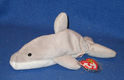 TY FLASH the DOLPHIN BEANIE BABY - MINT with NEAR PERFECT TAG