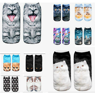 1Pair Novelty Women Chic 3D Animal Cats Printed Casual Socks Low Cut Ankle Socks