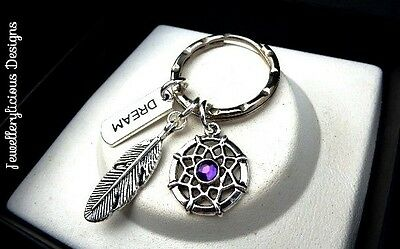 Beautiful Silver & Purple Dream & Feather Charm Dream Catcher Keyring Key Ring