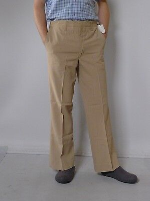 Vintage retro true 1970s L S36 unused mens pants flares slacks beige tags