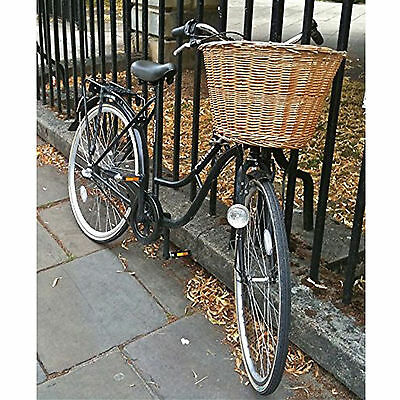 Vintage Retro Bicycle Wicker Storage Shopping Basket with Leather Straps Front