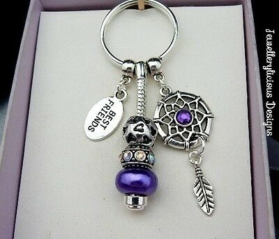 Beautiful Purple BEST FRIENDS Dream Catcher AB Crystal Keyring Key Ring
