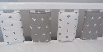 New **Babies Grey & White Stars  Individual Cot  Bumpers**  (Large - pack of 8)