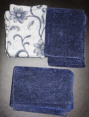 Blue Flower Tablecloth with 4 Dark Blue Placemats and 4 Dark Blue Napkins