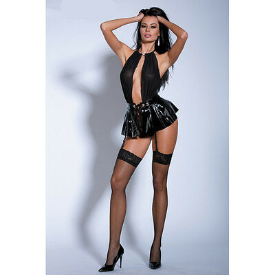 Ensemble sexy robe porte jarretelle simili cuir tenue sexy