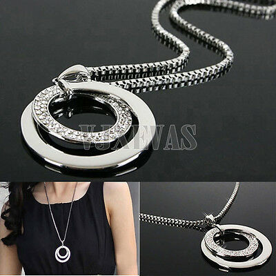 Hot Sale Women Crystal Rhinestone Silver Plated Long Chain Pendant Necklace