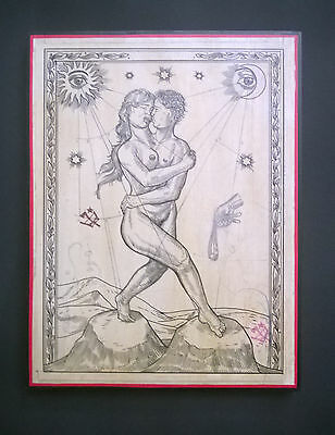 """Ravi Zupa - """"Sling"""" - 2016 -  Ink on paper mounted to wood panel 9 x 12 Inches"""