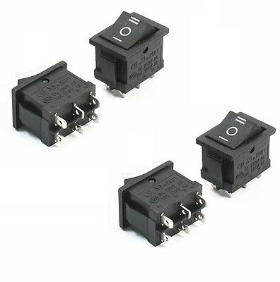 5PCS 6Pin DPDT ON-OFF-ON 3 Position Snap Boat Rocker Switch 6A/250V 10A/125V  AC