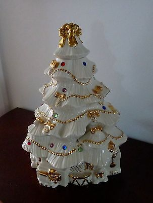 LENOX FINE CHINA JEWELED CANDLELIGHT CHRISTMAS TREE w/ 24K Gold & Crystals-MINT!