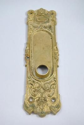 "Antique Victorian Cast Brass Door Back Plate With Figural Face 10 1/4"" Tall"