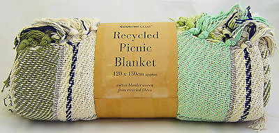 Country Club Recycle Cotton Picnic Blanket Throw Travel Rug 120x150cm Teal Green