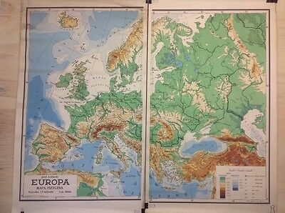 Vintage Map Of Europe Made In Poland School Map Educational Print