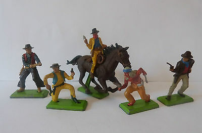 Britains Deetail Cowboys & Indians X5 * Vintage 1971 * Toy Soldiers